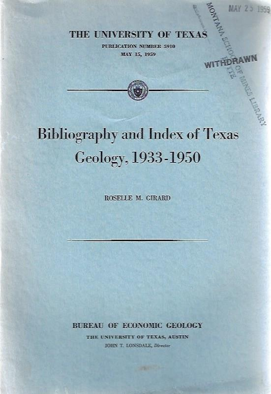 Image for Bibliography and index of Texas geology, 1933-1950 (The University of Texas.  Publication)