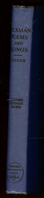 Image for German Poems and Songs Lieder Oxford Series 1929 [Hardcover]