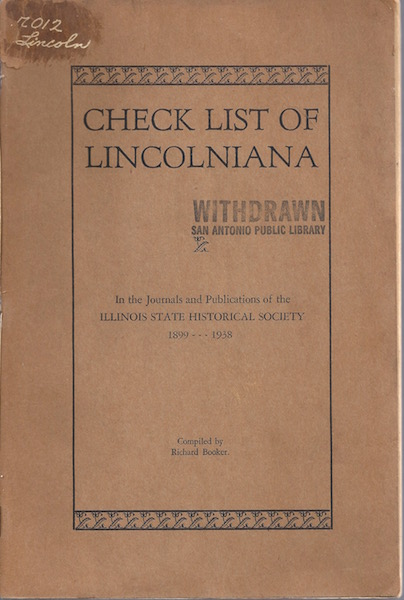 Image for Check list of Lincolniana in the Journals and Publications of the Illinois State Historical Society, 1899-1938,